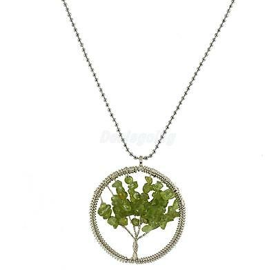 Classic Peridot Stumbled Chip Wire Wrap Tree of Life Pendant Chain Necklace