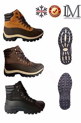 """LM Men's 6"""" Winter Snow Boots Work Boots Leather Waterproof + Free Socks 2017"""