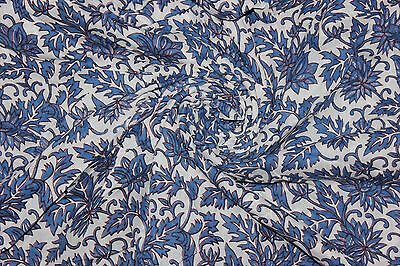 Hand Block Print Cotton Voile Fabric 2.5 Yards x 44 inches Dress Making, Sewing