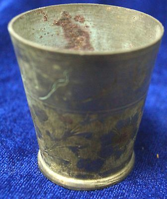 Antique Brass Or Bronze Islamic Calligraphic Tea Cup From India