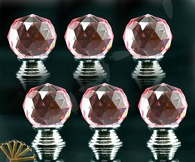 6 X Pink Clear Crystal Glass Clear Drawer Kitch Door Pull Knobs Handle Set E064