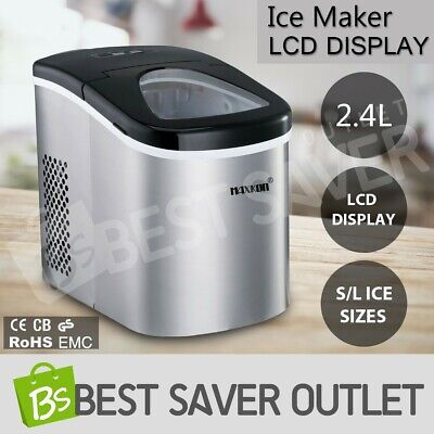 2.4L Portable Stainless Steel Ice Cube Maker Machine Automatic Home Fast Snow