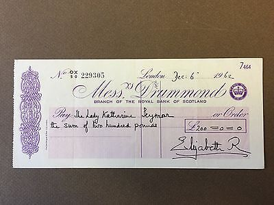 Elizabeth, Queen Mother - Hand-Signed Personal Cheque - 1962