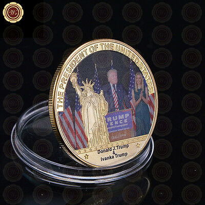 President Of US Donald Trump & Ivanka Trump 24K Gold Coin Custom Challenge Coin