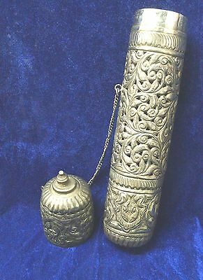 Antique Indian islamic Silver Plated Scroll Holder/Incense Box