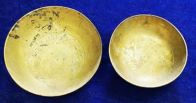 ANTIQUE slamic Middle Eastern HAND WRITTING Calligraphy Engraved Brass bowl