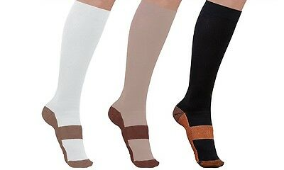 (3 Pairs) Copper Compression Socks 20-30 mmHg Graduated Support Sport Unisex