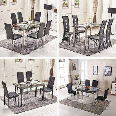 BN Rectangle Tempered Glass Dining Table 4X Black Faux Leather Dining Chairs Set