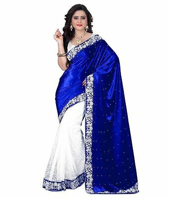 India Velvet Ethnic Bollywood Designer Party Bridal Saree Sari Blue Fashion Gift