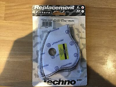 1 Pack X 2 Techno Mask Filter Replacements - LARGE - Anti Polution - Cycling