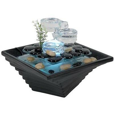 Table Water Fountain Indoor Desk Himalaya Ceramic Glass LED Lighting Black