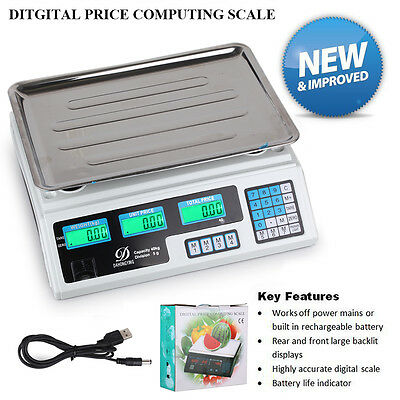 Electronic Kitchen Price Scale Food Postal Computing Weight 40KG LCD Retail Shop