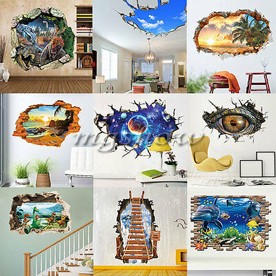 3D Broken Family DIY Removable Art Vinyl Wall Stickers Decal Mural Kids Decor