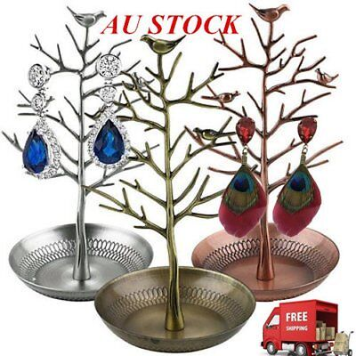 Retro Bird Tree Jewelry Earrings Ring Stand Holder Show Rack Necklace Display E5