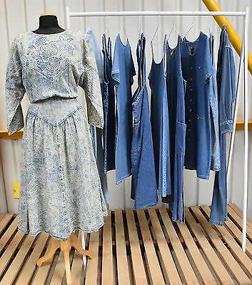 Job Lot Of 10 Vintage Denim Dresses. Mix Of Colours, Sizes And Styles.