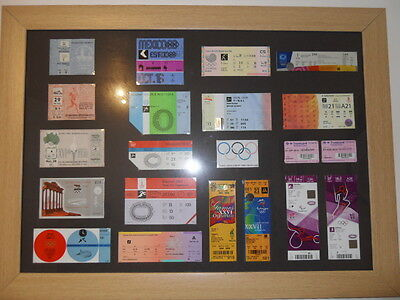 Framed olympic ticket collection, Highly collectable LONDON 1948 - LONDON 2012
