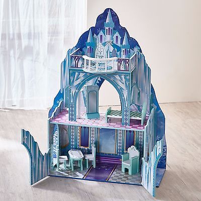 Childrens Ice Castle Wooden Kids Dolls House with 6 pcs Furniture