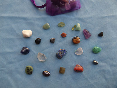 Natural Crystal gemstones Chakra Bag reiki wiccan healing Organza carry pouch