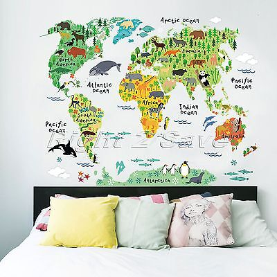 Colorful Animal World Map Wall Stickers Art Decals Mural Nursery Kids Room Decor