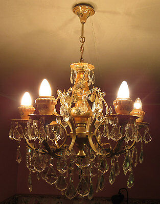 Ceiling Pendant Vintage Brass Porcelain Light Pinkish Orange Crystal Chandelier