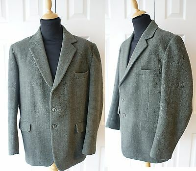 Vintage 60s 70s Tweed Wool Blazer 45 46 Jacket Country Green Herringbone