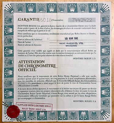 Rolex Certificate for VINTAGE Datejust Yellow Gold 16018 on LEATHER STRAP 1983