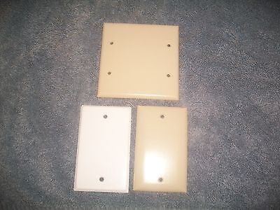 (3)Blank  Outlet Covers (2) Ivory Bakelite  (1) White Metal 2Gang & 4 Gang