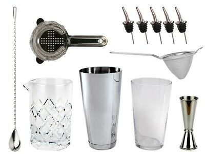 NEW Bartender's Bar Kit with Boston Shaker & Glass - Cocktails Drinks Bar Set