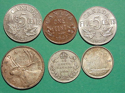 Lot Of 6 Old Coins, All Nice!