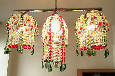 Ceiling Pendant Fixture Light Sparkling Colorful Gipsy Crystal Trio Chandelier