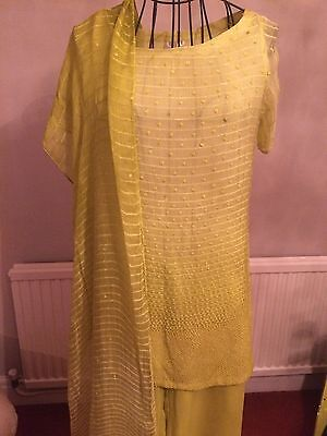 Brand New Ladies Lime Green Designer Indian Shalwar Kameez By SHEETAL Size Small