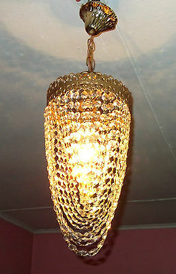 Antique Ceiling Light Vintage French Brass Flash Mount Crystal Single Chandelier