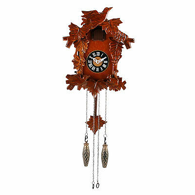 Traditional Quartz Carved Wooden Wall Cuckoo Clock w Roman Numerals 28 x 22cm