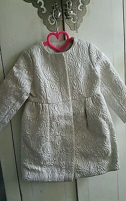 H&M All For Children UNICEF White Silver Brocade Coat 4 - 5 BNWT