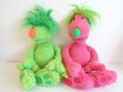 """JIM HENSON THE HOOBS - 2 x 16"""" TALKING SOFT TOYS by TOMY - GROOVE & TULA"""