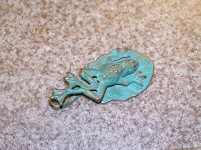 Rare Vintage Antique Solid Brass Bronze Frog Clip Door Knocker