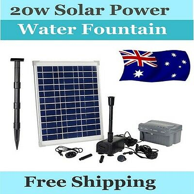 20W Solar Power Water Fountain Pond Pump Timer & LED Light & Dry Run Protection