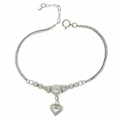 Genuine 925 Sterling Silver Adjustable Heart and Ball Bracelet with Curb Chain