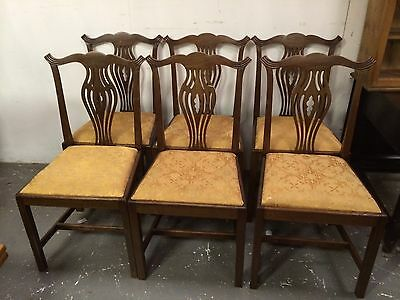 Set 6 Early 20th Century Mahogany Dining Chairs Upholstery Restoration Project • £129.00