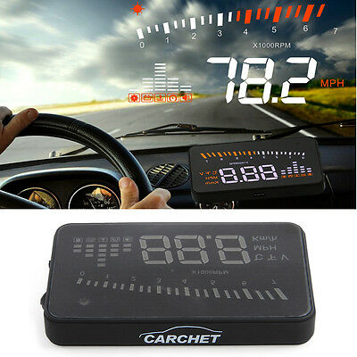 "3"" Car Head Up GPS HUD Display OBD II Speed Alarm MPH KMH Speedometer Time"