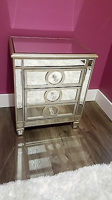 1 Pair, Mirror Furniture - Antique Gold / Silver Finish Mirror Bedside Table