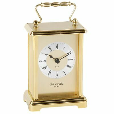 Classic Gold Gilt Two Tone Carriage Mantel Desk Clock w Roman Numerals 16x9cm