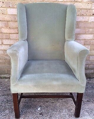 Vintage Early 20th Century Georgian Style Wing Back Armchair Upholstery Project