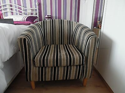 Club Chair in a striped fabric material