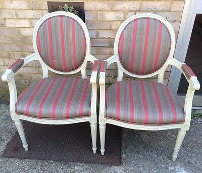 Vintage Pair Of French Louis Style White Painted Armchairs Shabby Chic