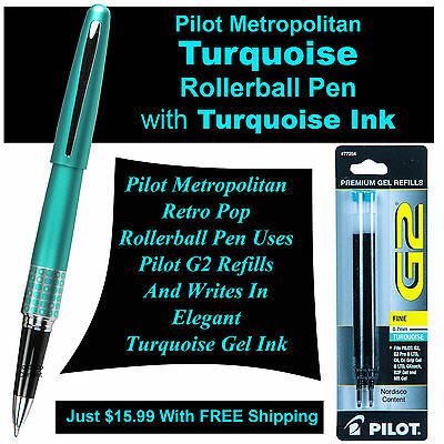 Pilot Metropolitan Turquoise Rollerball Pen with Turquoise Gel Ink & 1 Pk Refill