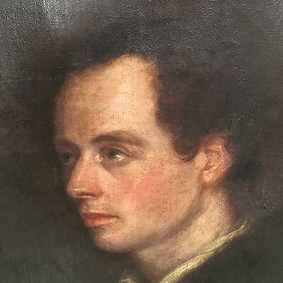 Antique Early Victorian 19th Century Oil On Canvas Portrait Of A Gentleman