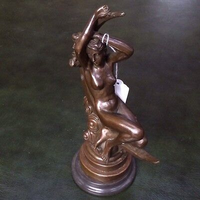 Art Deco Bronze Style Girl Nude Seated In Crescent Moon Marble Plinth
