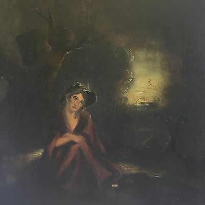 Antique 19th Century Oil On Canvas Young Woman Lady In Moonlit Forrest Woods A/F