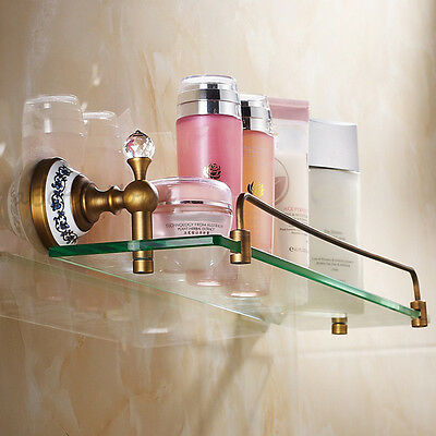 Antique Brass Durable Glass Shelf Holder Wall Mounted  Bathroom Towel Rail Rack